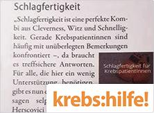 selpers im Magazin krebs:hilfe! im März 2019