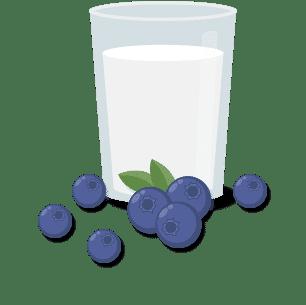 Bild von Milch und Beeren