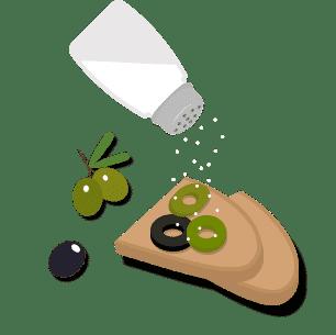 Bild von Salz Oliven und Brot