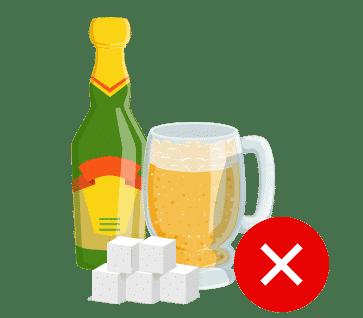 Reduzieren Sie Zucker und Alkohol