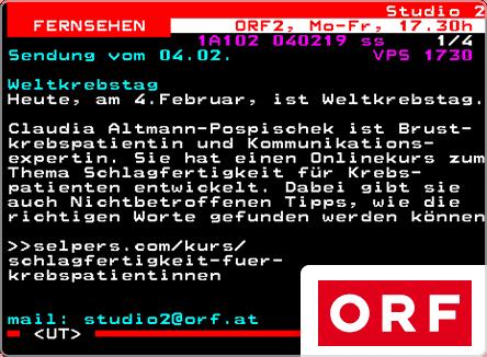 selpers im ORF Teletext Februar 2019