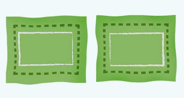 Dinkelsäckchen Anleitung: Stoffstücke mit Markierungen