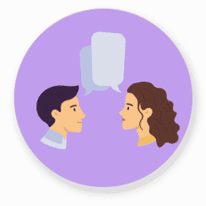 Icon Mann und Frau sprechen