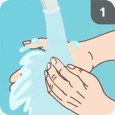 Hände mit Seife waschen Schritt 1
