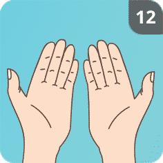 Hände mit Seife waschen Schritt 12