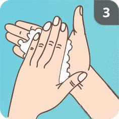 Hände mit Seife waschen Schritt 3