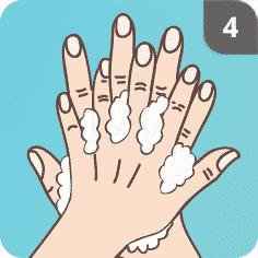 Hände mit Seife waschen Schritt 4