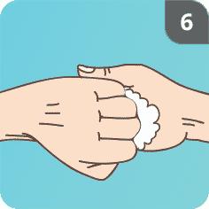 Hände mit Seife waschen Schritt 6