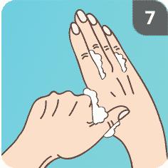 Hände mit Seife waschen Schritt 7