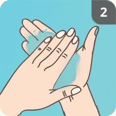 Hände desinfizieren Schritt 2
