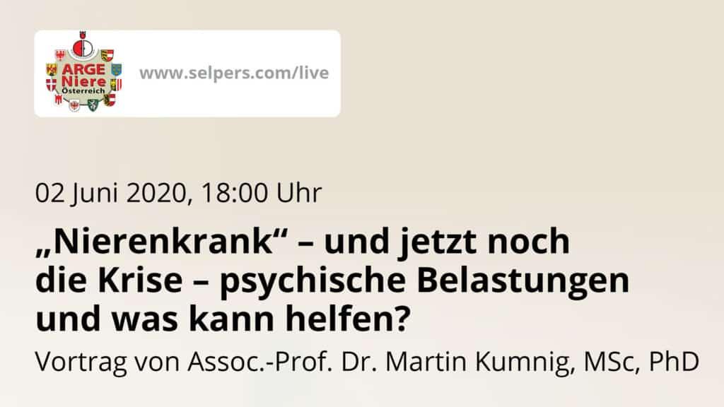 """Vortrag: """"Nierenkrank"""" – und jetzt noch die Krise – psychische Belastungen und was kann helfen?"""