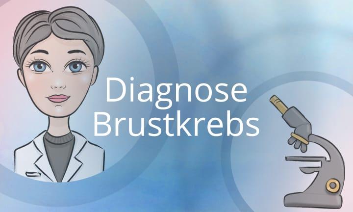 Diagnose Brustkrebs Kursbild mit Ärztin und Mikroskop